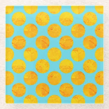 Beach Themed Sun and Sea Yellow and Blue Polka Dot Glass Coaster