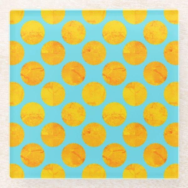 Sun and Sea Yellow and Blue Polka Dot Glass Coaster