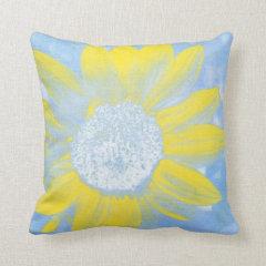 Sun and Sky Sunflower Throw Pillow