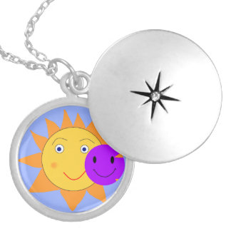Sun and Smiley Locket Necklace