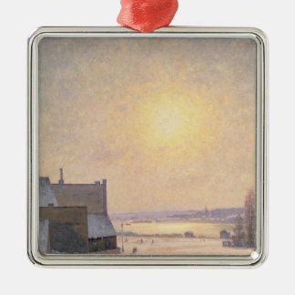 Sun and Snow, Scene from Stockholm Metal Ornament