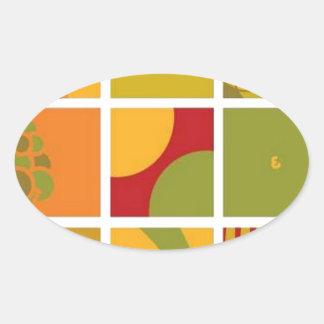 Sun and soil vector oval sticker