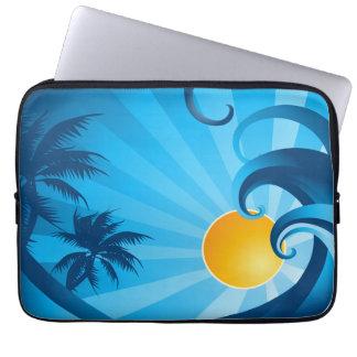 Sun and Surf Sea Wave Illustration Laptop Computer Sleeve