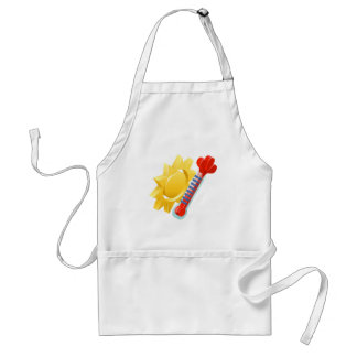 Sun and Thermometer Weather Icon Concept Adult Apron