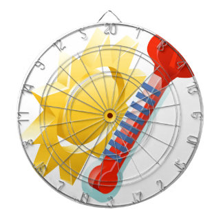 Sun and Thermometer Weather Icon Concept Dartboard