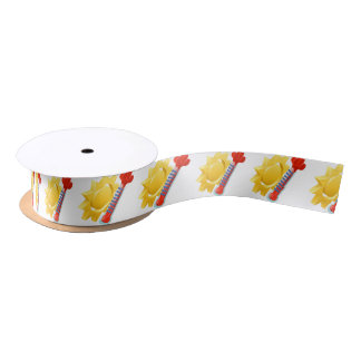 Sun and Thermometer Weather Icon Concept Satin Ribbon