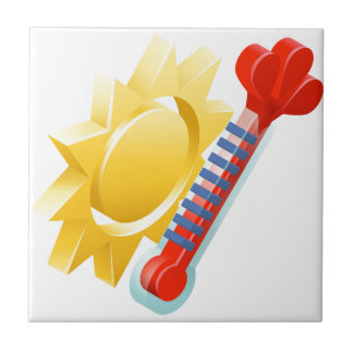Sun and Thermometer Weather Icon Concept Tile