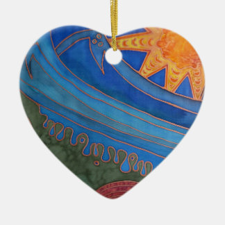 Sun and Waves Ceramic Ornament
