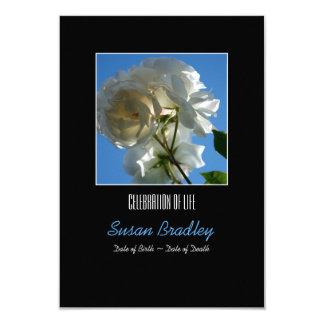 Sun and White Roses Celebration of Life Invitation