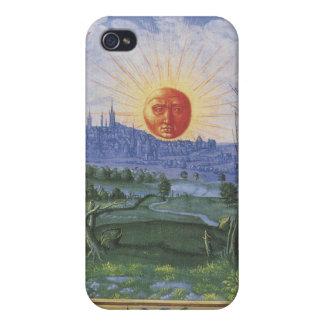 Sun antiguo hace frente sobre la caja azul de la m iPhone 4 funda