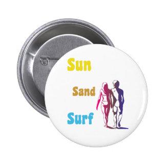 Sun, arena, botón de la resaca pin redondo de 2 pulgadas