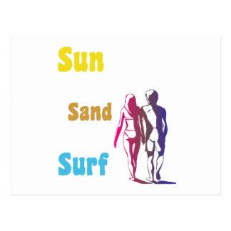 Sun, arena, postal de la resaca
