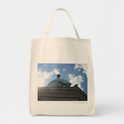 Sun at Statue Tote Bags