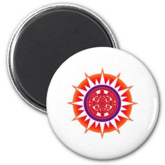 Sun azteca imán redondo 5 cm