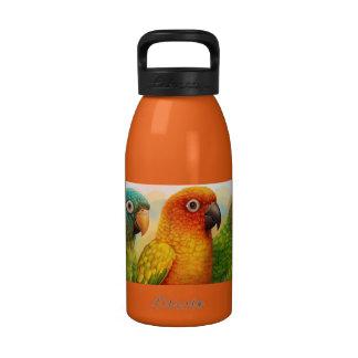Sun azul-coronó conures verdes-cheeked botella de agua reutilizable