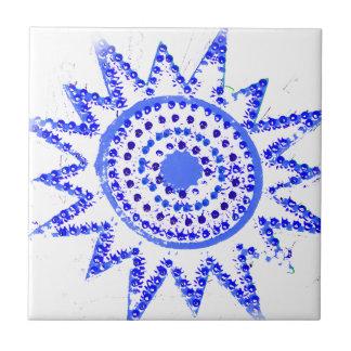 Sun azul en recorte del Grunge de las luces Azulejo Cuadrado Pequeño