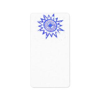 Sun azul en recorte del Grunge de las luces Etiquetas De Dirección