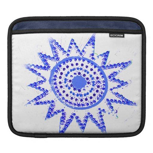 Sun azul en recorte del Grunge de las luces Mangas De iPad