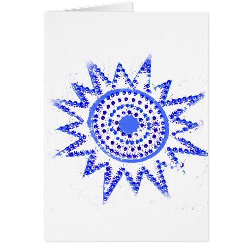 Sun azul en recorte del Grunge de las luces Tarjetón