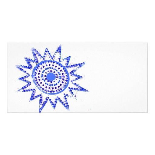 Sun azul en recorte del Grunge de las luces Tarjeta Personal