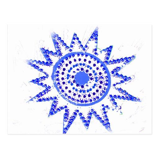 Sun azul en recorte del Grunge de las luces Postales