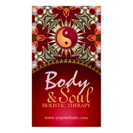Yin Yang Sun Balance Symbol New Age Reiki Red Holistic Therapy Business Cards