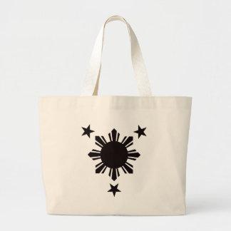 Sun básico filipino y estrellas - negro bolsas