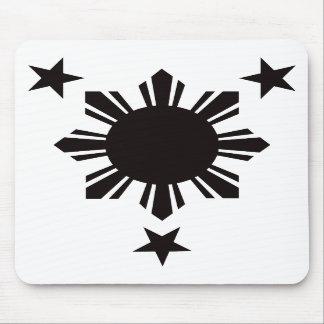 Sun básico filipino y estrellas - negro alfombrillas de ratones