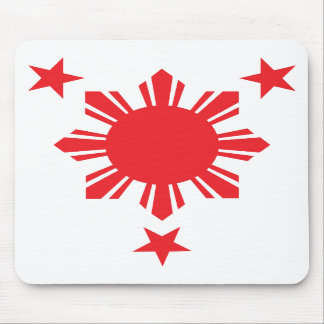 Sun básico filipino y estrellas - rojo alfombrilla de ratones