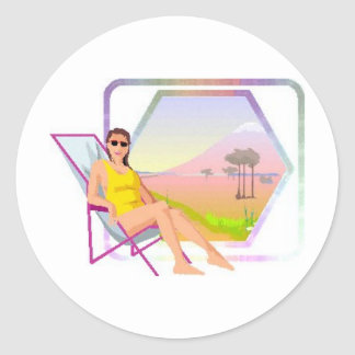 Sun bather classic round sticker
