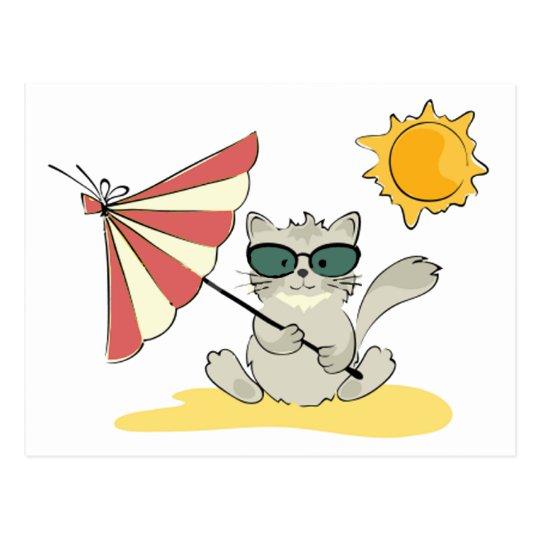 Sun Bathing Cool Cat Postcard