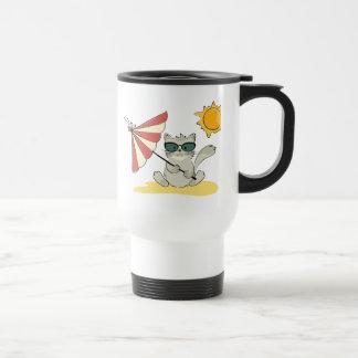 Sun Bathing Cool Cat Travel Mug