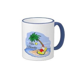 Sun Bathing Santa hawaiian xmas tee 5 Ringer Coffee Mug