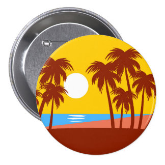 Sun Beach Island Palm Trees Colorful Illustration Button