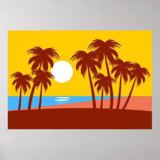 Sun Beach Island Palm Trees Colorful Illustration Poster