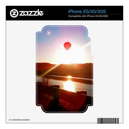 Sun beam, Hot air balloon Decals For iPhone 2G