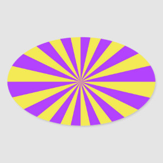 Sun Beams in Violet and Yellow Oval Sticker