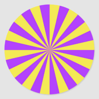 Sun Beams in Violet and Yellow Round Sticker