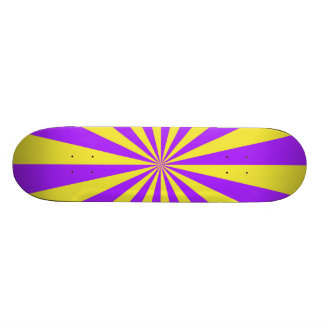 Sun Beams in Violet and Yellow Skateboard
