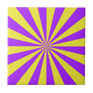Sun Beams in Violet and Yellow tile