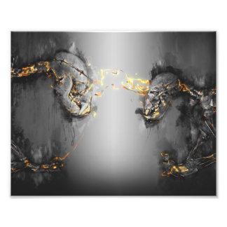 Sun bear art-before the fight-skeleton art series photo print