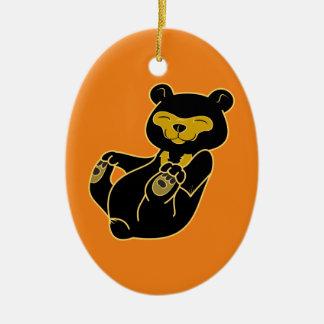 Sun Bear Cub Double-Sided Oval Ceramic Christmas Ornament