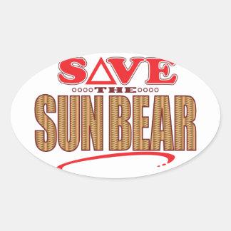 Sun Bear Save Oval Sticker