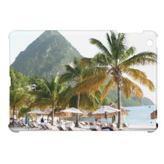Sun Beds on a beach in Saint Lucia near the Pitons Cover For The iPad Mini
