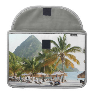 Sun Beds on a beach in Saint Lucia near the Pitons MacBook Pro Sleeve