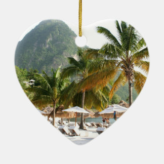 Sun Beds on a beach near the Pitons in St Lucia Double-Sided Heart Ceramic Christmas Ornament