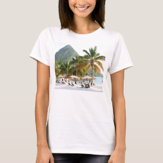 Sun Beds on a beach near the Pitons in St Lucia T-Shirt