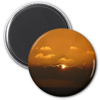 Sun Behind Clouds I Orange Seascape Magnet