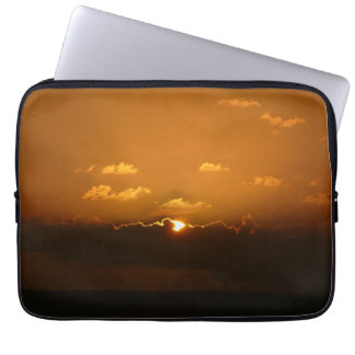 Sun Behind Clouds Orange Seascape Computer Sleeves