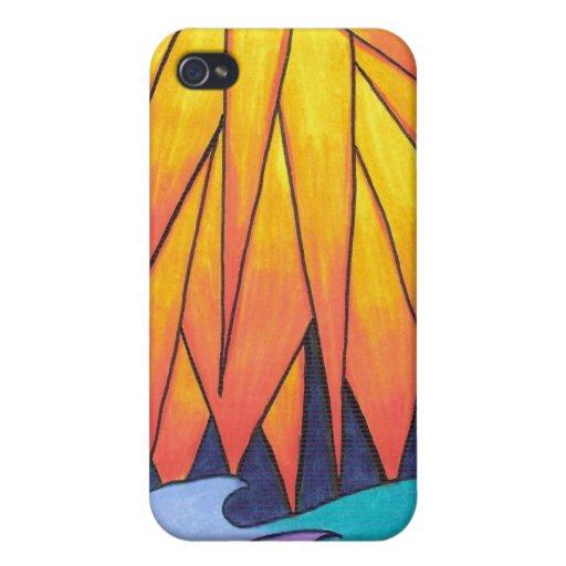 Sun besó el caso del iPhone de las ondas iPhone 4/4S Carcasas